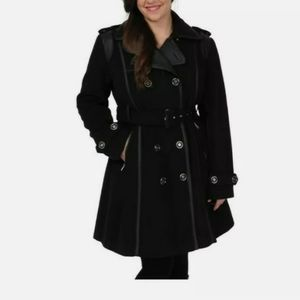 New Misses Excelled Faux wool Trench Coat Black
